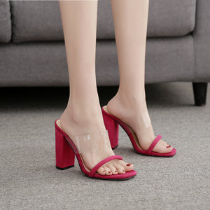 One word transparent film square head thick heel slippers