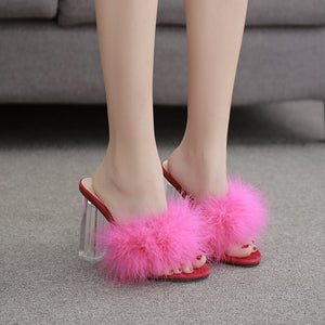 Clear crystal Fur Fashion slippers Sandals