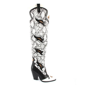 Molly Embroidered Western Thigh High Long Boot In Grey Snake Print Faux Leather