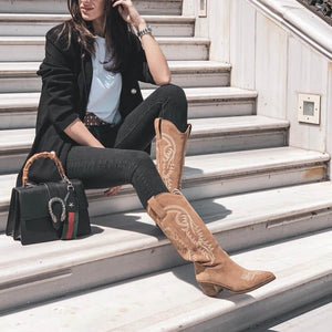 Suede Women Ankle Boots Cowboy Mid-calf Chunky Wedges