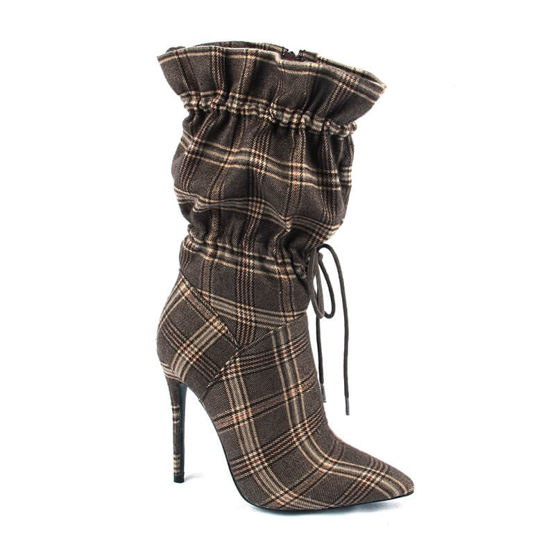 Tsmile Women Leopard Print Boots Thin High Heel Mid Calf Suede Leather Pointy Toe Stretch Club Stiletto Booties Brown