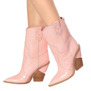 NEW COWBOY PINK CHUNKY WEDGES BOOTS