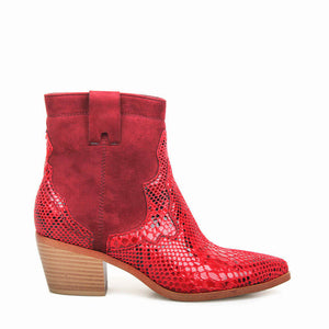 LUXURY RED SNAKESKIN CHELSEA ANKLE BOOTS