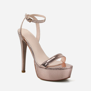 SHANIA GOLD SNAKE CLEAR PLATFORM STILETTO HEELS