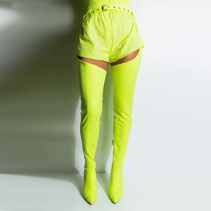 VICKI NEON GREEN LYCRA BELT THIGH HIGH BOOTS