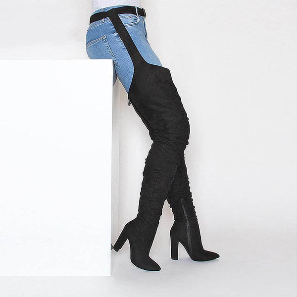 VICKI BLACK SUEDE BELT THIGH HIGH BOOTS