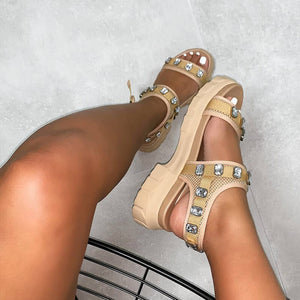 Deesha White Mesh Gem Chunky Sandals
