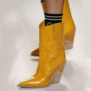 NEW COWBOY YELLOW  CHUNKY WEDGES BOOTS