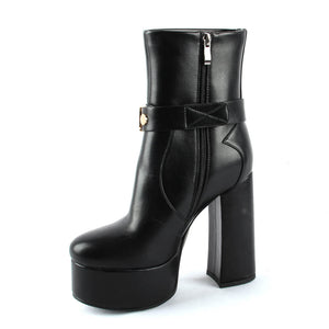 Winter Black  Platfrom Heeled Ankle Boots