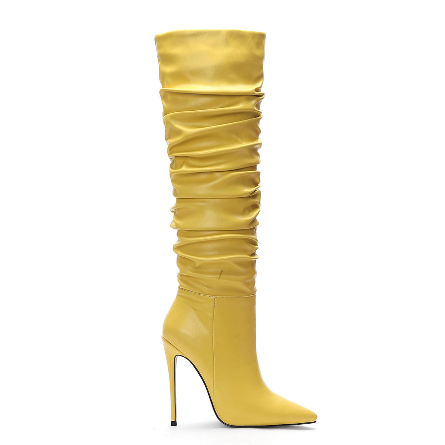 Pleated Slouch New Arrival Yellow Knee High Boots