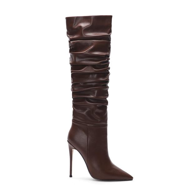 Pleated Slouch New Aaarival Coffee Knee High Boots