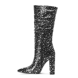 Women Square Heels Black Stars Leather Mid-calf Boots