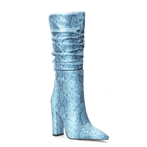 Women Square Heels Blue Snakeskin Leather Mid-calf Boots