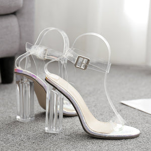 Web celebrity crystal and PVC strappy sandals