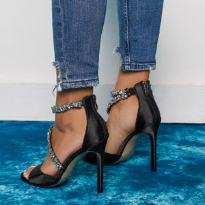 One word with peep-toe drill stiletto heels
