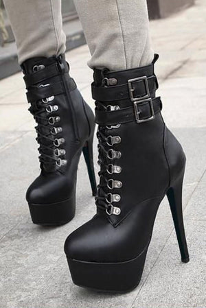 Classic belt buckle high heel Ankle boots
