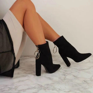Metal ring zipper ankle boots with pointed heel