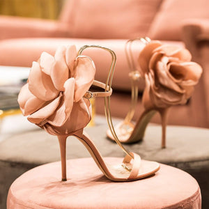 OHICHIIC SEXY FLORAL HIGH HEELS SANDALS