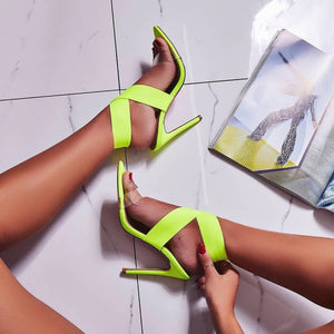 Web celebrity style Roman cross with high-heeled sandals fluorescent color big yards of shoes
