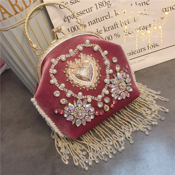 Velvet Pink Crystal Spakrling Rose Gold Chain Handbag
