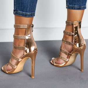 Thin heel hot drill water drill trend catwalk high heel sandals