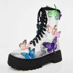 PHANTOM SILVER BUTTERFLY LACE UP STRAP BOOTS