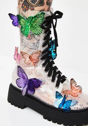 PHANTOM CLEAR BUTTERFLY LACE UP STRAP BOOTS