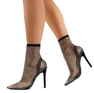 DIAMOND BLACK DIAMANTE FISHNET STILETTO HIGH HEELS
