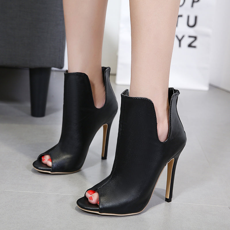 Roman style fish mouth high heel naked female boots