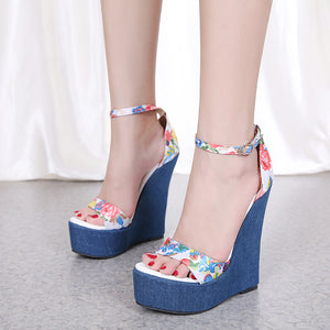 Print sexy high heel wedge sandals