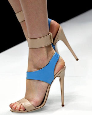 Monochrome stiletto sandals on the catwalk