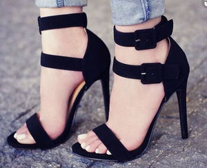 Black Belt stiletto Fashion Sexy Heeled sandals