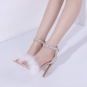 Diamond white fur high heel sandals