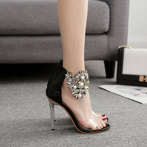 Pearl horse eye glass shoes with PVC film open-toe sandals