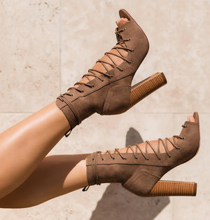 Gladiator ankle boots with strappy heels