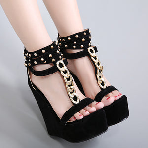Roman style high heel sandals with metal chain code rivets