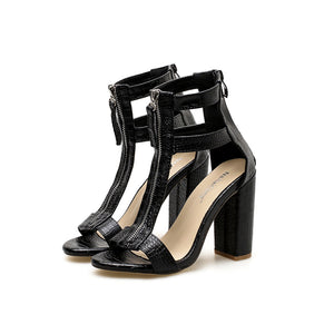 Serpentine Roman style open-toe high-heeled sandals