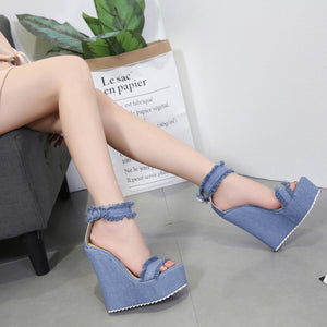 Denim high wedge sandals with rough edges