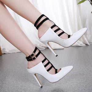 Ohichiic Strap White High Heel Pumps