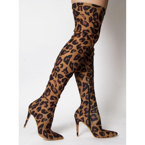 COLLETTE LEOPARD LYCRA POINTED TOE THIGH HIGH BOOTS