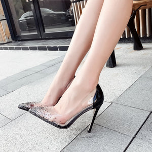 Transparent water drill tip shallow mouth thin high heel single shoe