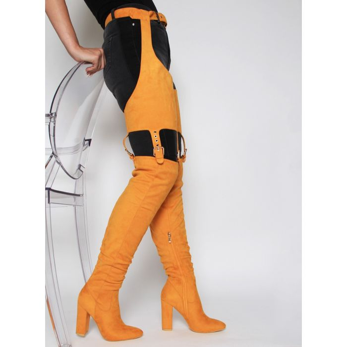 NICKI MUSTARD SUEDE BELT THIGH HIGH BOOTS