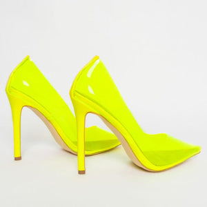NOVA NEON NEWEST CLEAR STILETTO COURT SHOES