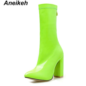 Novelty Summer Mid-Calf Boots  Clear Party Transparent Pink Green Shallow