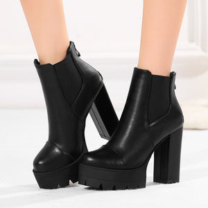 leather  ankle boots high heels platform womens boots