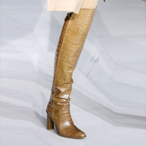 Luxury Leather Chunky  Over The Knee Boots