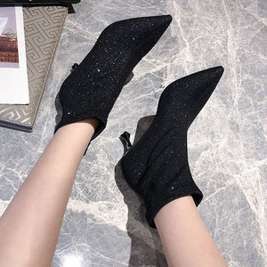 Black Sliver Shiny Thin High Heel Ankle Boots