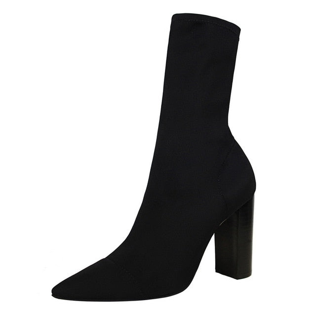 women sock boots mid-calf Square heel Lycra shoes