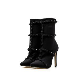 Fetish Rivets Silk Sock Boots Stiletto Ankle Boots