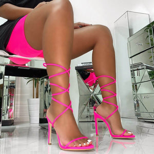 SHAYLA NEON PINK ORANGE LYCRA LACE UP STILETTO HEELS